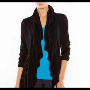 Lucy Activewear black knit Ruffle Cardigan Open Front Size Small